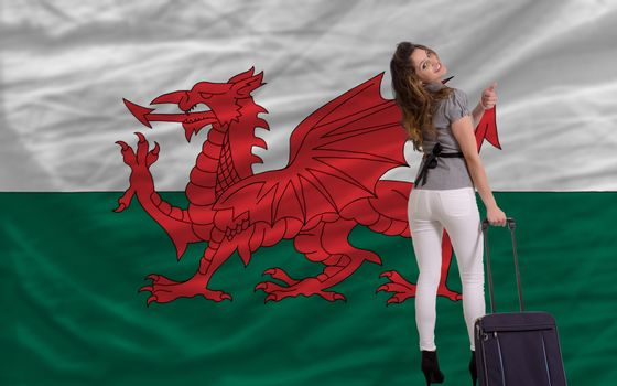 young beautiful woman is traveling to wales