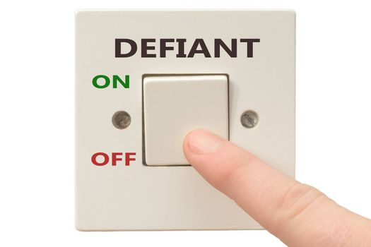 Turning off Defiant with finger on electrical switch