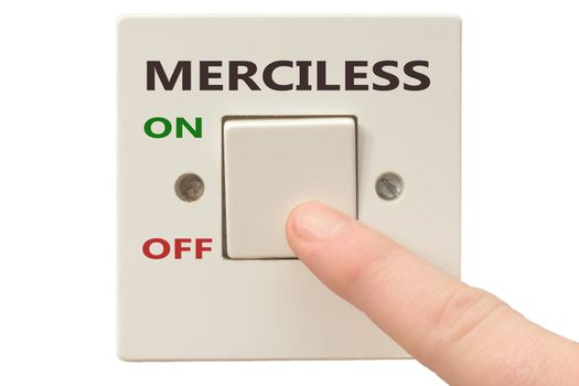 Turning off Merciless with finger on electrical switch