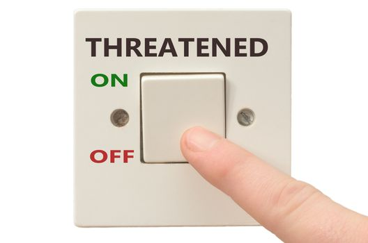 Turning off Threatened with finger on electrical switch