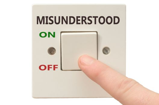 Turning off Misunderstood with finger on electrical switch