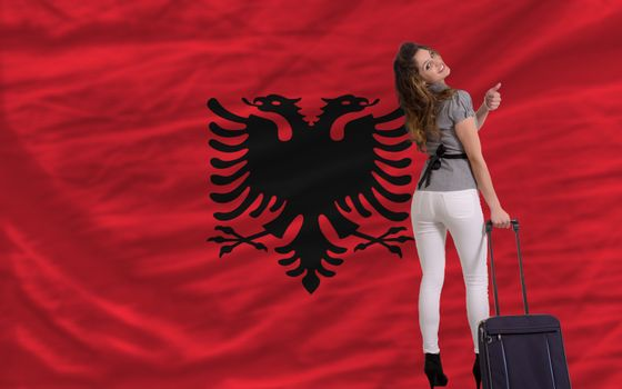 young beautiful woman is traveling to albania