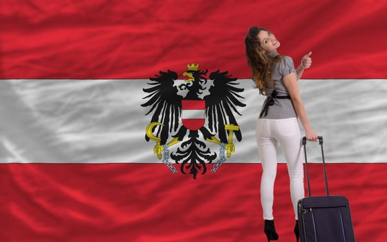 young beautiful woman is traveling to austria