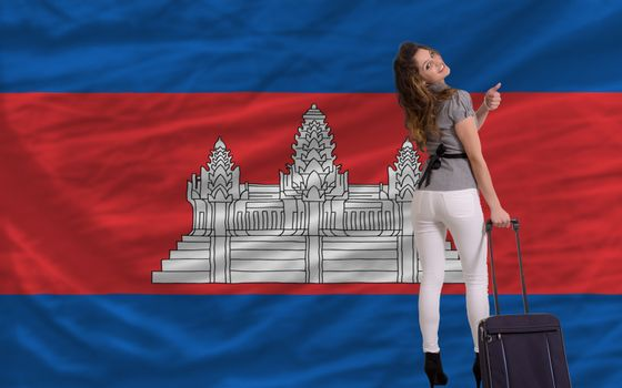 young beautiful woman is traveling to cambodia