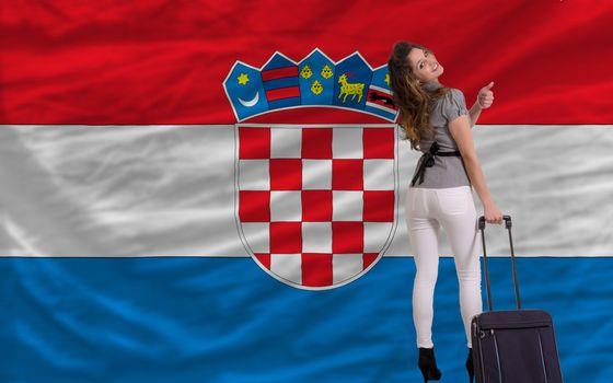 young beautiful woman is traveling to croatia