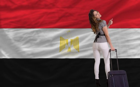 young beautiful woman is traveling to egypt