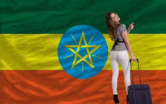 young beautiful woman is traveling to ethiopia
