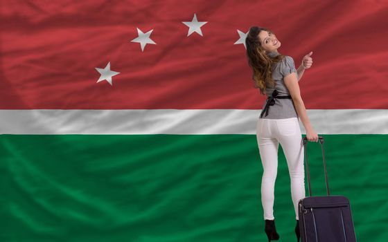 young beautiful woman is traveling to maghreb