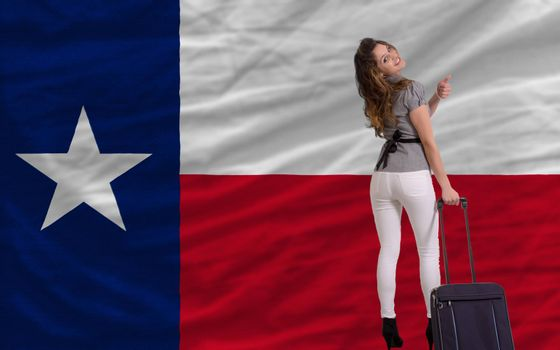 young beautiful woman is traveling to texas