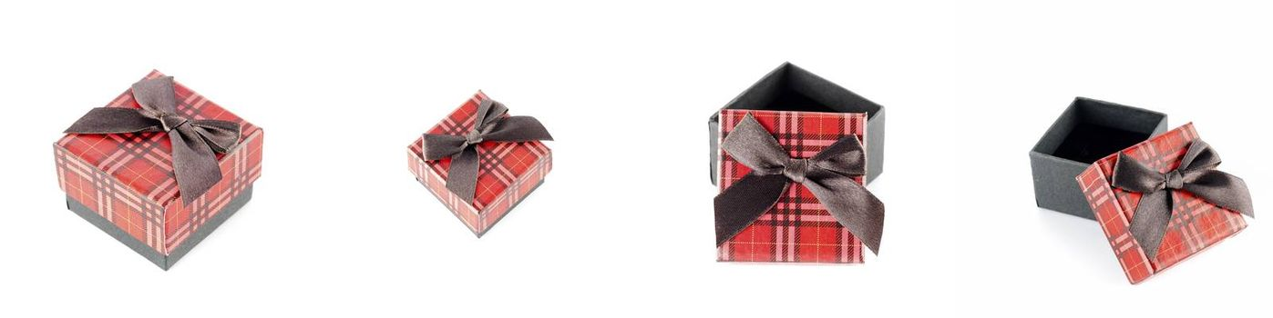 red gift box scotch line isolated on white background