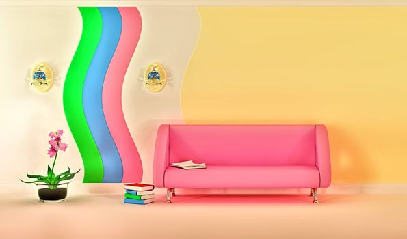 empty sunny stylish minimalist modern living room with pink sofa, sconce and pink flower