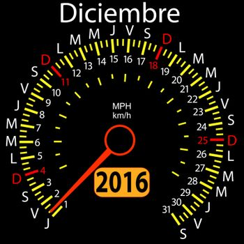 2016 year calendar speedometer car in Spanish, December. Vector illustration.