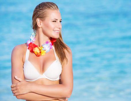 Beautiful woman on Hawaiian party