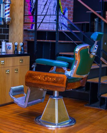 View of vintage barber chair in the barber shop