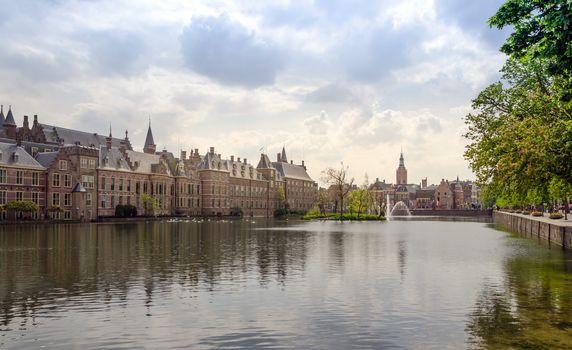 Famous parliament building complex Binnenhof in The Hague.