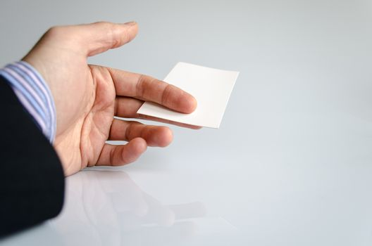 Business card exchanging.Business concept.