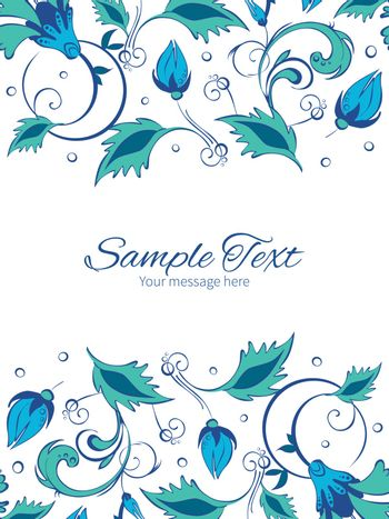 Vector blue green swirly flowers vertical double borders frame invitation template graphic design