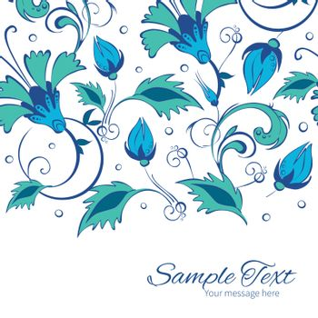 Vector blue green swirly flowers horizontal border card template graphic design