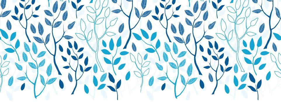 Vector blue forest horizontal border seamless pattern background graphic design