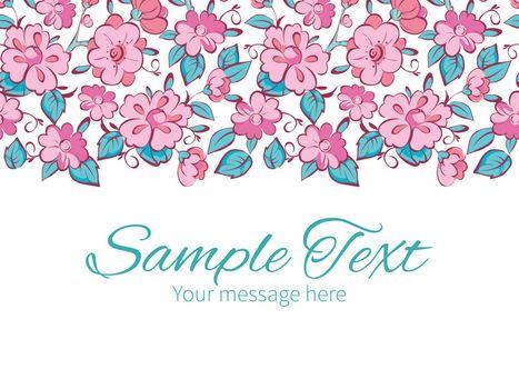 Vector pink blue kimono flowers horizontal border greeting card invitation template graphic design