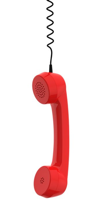 Red Retro Business Telephone Receiver Hangs by its Cord on White Background