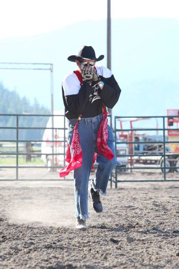 MERRITT, B.C. CANADA - May 30, 2015: Rodeo Clown in the arena during The 3rd Annual Ty Pozzobon Invitational PBR Event.