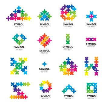 Big collection of vector logos of abstract modules