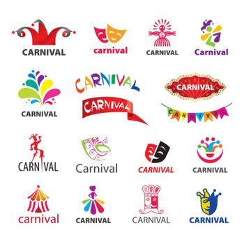 big set of vector logos carnival
