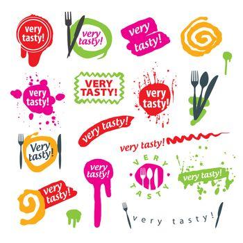 big set of vector logos for food