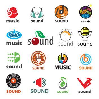 big set of vector logos sound and music