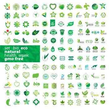 big set of vector logos ecology, health, natural