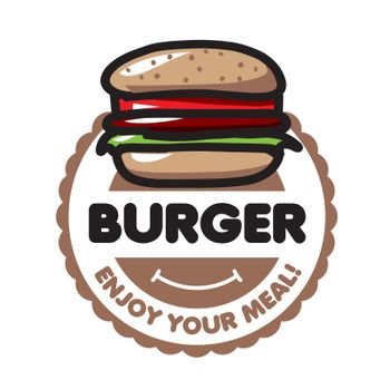 vector logo burger for menu restaurant or cafe