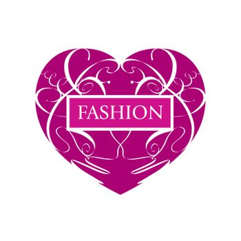 vector logo fashionable heart of patterns