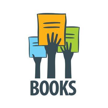 vector logo hands holding a books