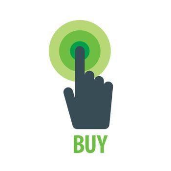 vector logo hand presses the button