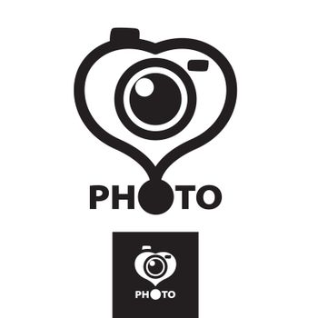 vector logo in the form of heart for the photographer