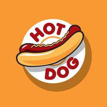vector logo hot dog for fast food