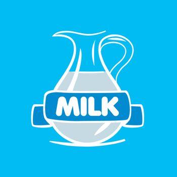 vector logo milk in a glass jar