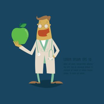 Dentist holding a green apple