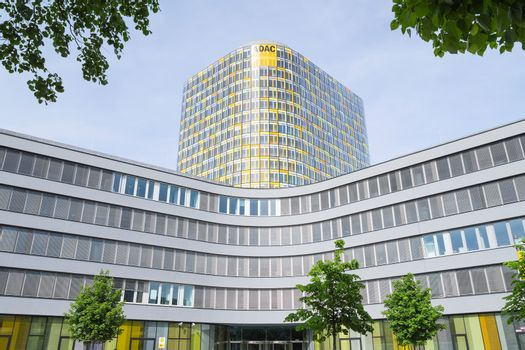 Facade of new modern ADAC headquarters and offices building