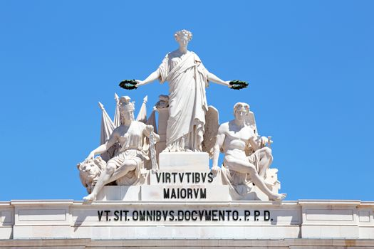 Statues at the top of Rua Augusta Arch in Lisbon, Portugal. Alle