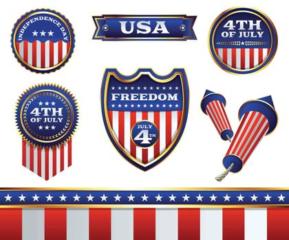 A patriotic set of American Independence Day 4th of July badges and design elements. Vector EPS 10 available. Elements are grouped for easy separation of designs.