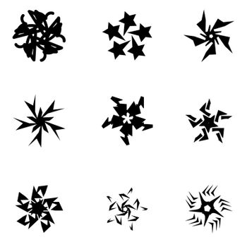 Silhouette of Design Elements Isolated on White Background.