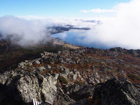 Fog covering Feforvatnet, Norway