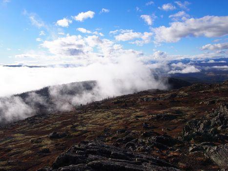 Fog-covered landscape, Fefor, Norway