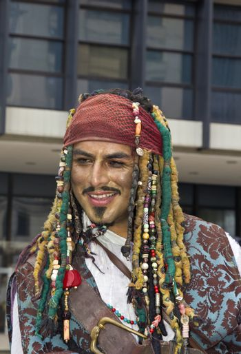 SAO PAULO, BRAZIL - June 7, 2015: An unidentified man  wearing costume and celebrating lesbian, gay, bisexual, and transgender culture in the 19º Pride Parade Sao Paulo.