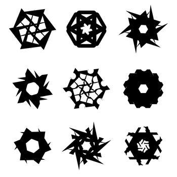 Set of Black Elements Isolated on White Background.