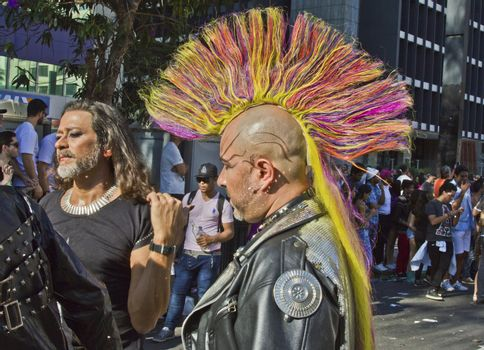 SAO PAULO, BRAZIL - June 7, 2015: One group of unidentified persons  wearing costumes celebrating lesbian, gay, bisexual, and transgender culture in the 19º Pride Parade Sao Paulo.