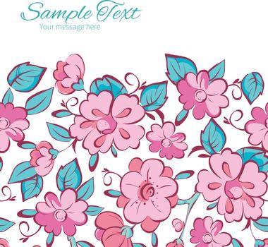 Vector pink blue kimono flowers horizontal frame seamless pattern background graphic design