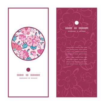 Vector pink blue kimono flowers vertical round frame pattern invitation greeting cards set graphic design